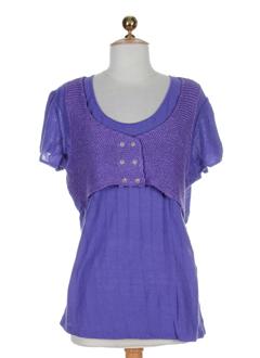 aldo et martin et s manches et courtes et 1 femme de couleur violet (photo)