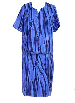 brigitte et saget jupe et veste femme de couleur bleu (photo)