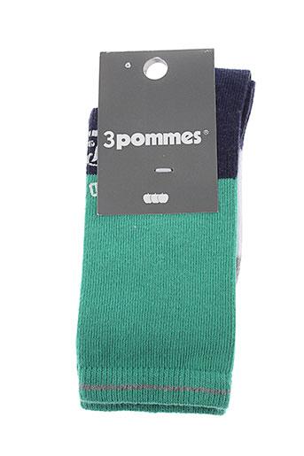 3 et pommes chaussette garcon de couleur vert (photo)