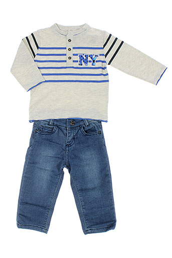 3 et pommes t et shirt et pantalon garcon de couleur gris (photo)