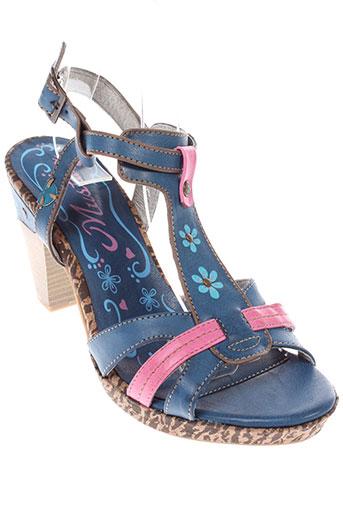 mustang sandales et nu et pieds femme de couleur bleu