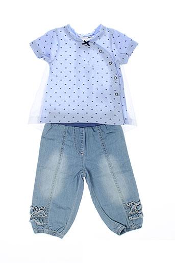 3 et pommes t et shirt et pantalon fille de couleur bleu (photo)