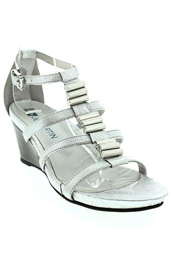 jb et martin sandales et nu et pieds femme de couleur gris