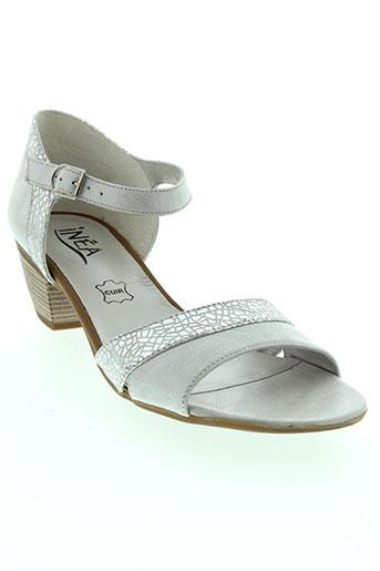 inea sandales et nu et pieds femme de couleur gris