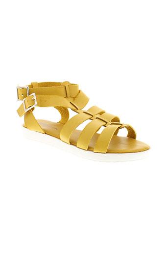 catisa sandales et nu et pieds femme de couleur jaune