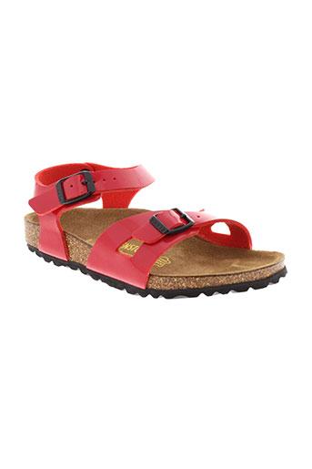 birkenstock sandales et nu et pieds fille de couleur rouge