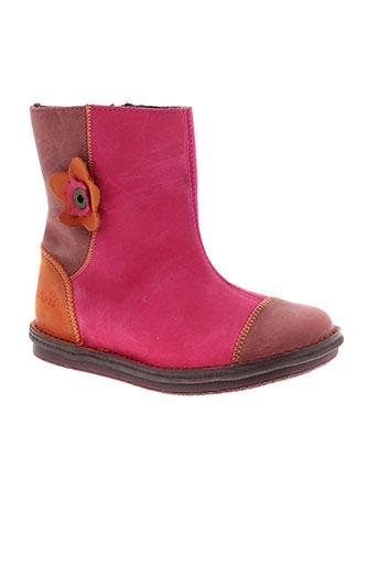 kickers boots fille de couleur rose